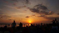 Sunset at seminyak beach, bali