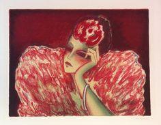 Jean-Pierre Cassigneul | Alnorum Art La Femme en Rouge Techniek: Kleurenlitho  Jaar van uitgifte: 1973 Genummerd en handgesigneerd Afmetingen: 65 cm x 54 cm (papier)