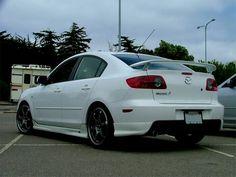 Mazda 3 Spoiler in White Mazda Cars, Mazda 6, Mazda 3 2006, Mazda 3 Sedan, Car Car, Cool Cars, Dream Cars, Super Cars, Automobile
