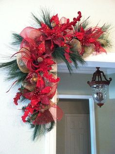 Feels like Christmas! Pair of Red Christmas Swags for Door Frames, Mirrors, Mantels and More. Red and Gold Christmas Decor Gold Christmas Decorations, Christmas Arrangements, Christmas Swags, Noel Christmas, Green Christmas, Holiday Wreaths, Christmas Projects, All Things Christmas, Rustic Christmas