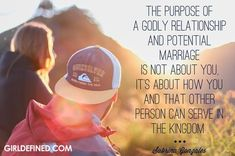 >>>Cheap Sale OFF! >>>Visit>> The purpose of a godly relationship and potential marriage is not about you it's about how you and that other person can serve in the Kingdom. Godly Dating, Godly Marriage, Marriage Romance, Godly Wife, Godly Woman, Christ Centered Relationship, Relationship Goals, Godly Relationship Quotes, Relationship Questions