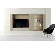 Contemporary style sectional lacquered TV wall system ROOMY | TV wall system - Caccaro
