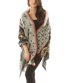 Blue & Green Floral Embroidered Wool Shawl 80.99