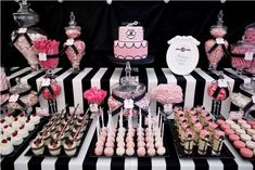 This table was sent to us by Belinda of Styled by Belle.  For her client Melissa's 21st birthday, the ladies chose a bold yet glamorous theme using the colors pink, black and white.  The bold striped tablecloth was softened by the curves of the candy jars, candelabras and pom poms. Cardboard chandeliers gracefully fell from …