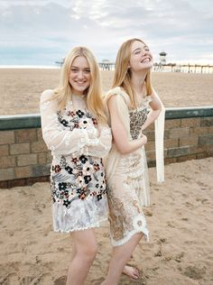 "rodarte: ""Love Elle and Dakota Fanning wearing SS17 in the March issue of Vogue. (Photo by Ed Templeton, Styling by Sara Moonves) """