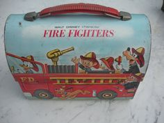 Vintage Disney Fire Fighters Metal Lunch Box with Thermos