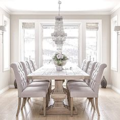Dark Wood Dining Table with Gray French Dining Chairs - French ...