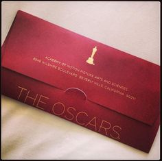 My Oscar invitation! Sadly it came home late