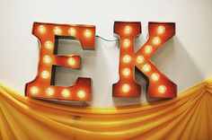 DIY vintage Carnival marquee letters wedding initials