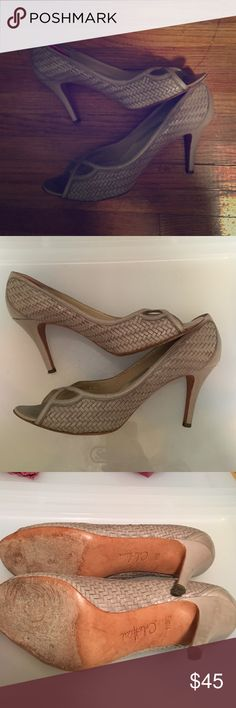 Cole Haan peep toe heels size 11 Love these but they are too big for me. Bought here on posh. Never worn by me. My loss is your gain! Beautiful braided leather. Wonderful condition Cole Haan Shoes Heels