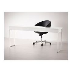 IKEA - BESTÅ BURS, Desk, , Two people can work comfortably at the desk with this long table top.Can be placed anywhere in the room because the back is finished.The high gloss surfaces reflect light and give a vibrant look.