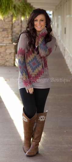 Fall Time Hooded Aztec Sweater / Southern Sophisticate Boutique