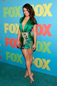 Pin for Later: Charlize Theron Shows Us What a Million Bucks Looks Like Lea Michele Lea Michele in Blumarine  at the Fox Upfront presentation.