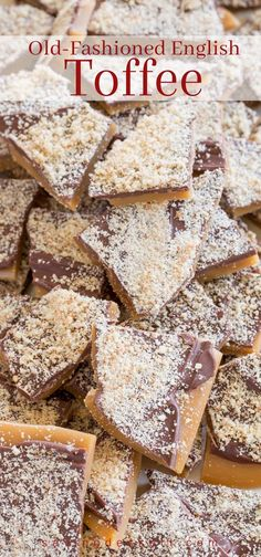 to make and perfect for gifting, Old Fashioned English Toffee dusted with grated almonds - a family favorite for generations!Easy to make and perfect for gifting, Old Fashioned English Toffee dusted with grated almonds - a family favorite for generations! Fall Desserts, Christmas Desserts, Christmas Baking, Just Desserts, Dessert Recipes, Christmas Cookies, Cinnamon Desserts, Christmas Appetizers, Fudge Recipes