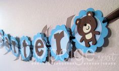 Blue Teddy Bear NAME Banner - light blue, pastel blue, brown - birthday, baby shower, room decoration. $12.00, via Etsy.