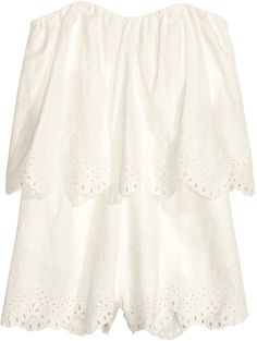H&M - Embroidered Jumpsuit - White - Ladies
