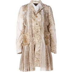 Comme Des Garçons animal print pleated detailing coat ($1,510) ❤ liked on Polyvore featuring outerwear, coats, beige, comme des garcons coat, pleated coat, comme des garçons, animal print coat and beige coat