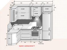 Corner Kitchen Layout, Kitchen Layout Plans, Kitchen Room Design, Home Decor Kitchen, Interior Design Kitchen, Kitchen Measurements, Small Apartment Kitchen, Cabin House Plans, Simple House Design