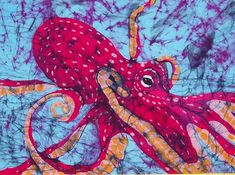 Octopus Fine Art Batik Tapestry - Textile by Kay Shaffer - Octopus Fine Art Batik Fine Art Prints and Posters for Sale Fabric Painting, Fabric Art, Shibori, Octopus Art, Octopus Painting, Batik Art, Textiles, Silk Art, Textile Art