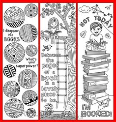 8 Coloring Bookmarks with Quotes on Reading and Books