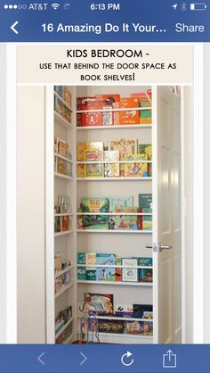 kids bedroom - use that behind the door space! I soo love this idea! We don't have much storage.make that no storage. Love this idea! Do It Yourself Design, Do It Yourself Home, Mini Loft, Diy Home Decor, Room Decor, Diy Casa, Home Organization, Girl Room, Home Projects