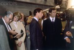 Prince Charles and Princess Diana with Timothy Dalton at the Pinewood Studios