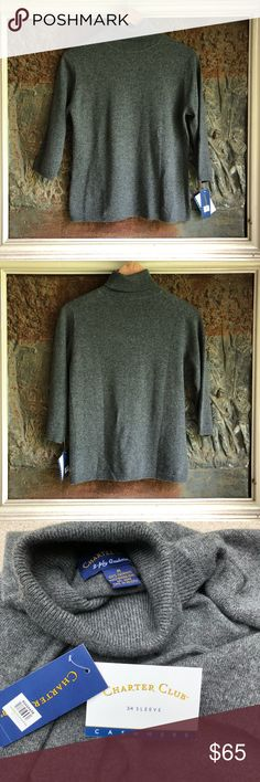 """⭐️🆕[Charter Club]💯%Silk Cashmere Sweater -New with tags -3/4 sleeve length -Size M  🛍Bundle - save 💵 - Get a possible discount - All your Rox4You 🛍 will be mailed together - 1️⃣📦charge - (ONLY in """"bundle"""")  Check Out the rest of my ⭐️Rox4Less⭐️ Closet  I work for 1️⃣ client ♥️ selling her fabulous retired designer wardrobe to make room for 🆕 Most items either 🆕 or worn once ♥️ Charter Club Sweaters Cowl & Turtlenecks"""
