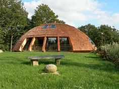 Solaleya is 90% made of wood, round shaped house with huge windows allowing sun daylong for natural lighting. You can rotate the house following the sun and 'the energy used for a 360 deg rotation equals a vacuum cleaner round in the entire house.'