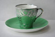 Antique Minton Art Nouveau Silver Overlay Demitasse Cup Saucer 1913