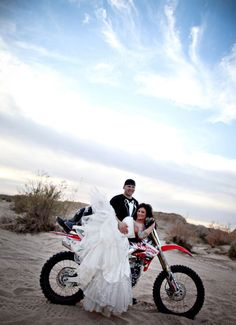 I wanna do something like this when Im older. Me in a wedding dress, with MX boots and a helmet...