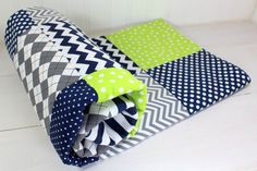 Baby Boy Blanket, Nursery Decor, Photography Prop, Fleece Blanket, Crib Blanket, Chevron Nursery, Navy Blue, Lime Green and Gray, Grey Chevron