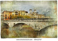 Girona, view with bridge - artistic picture in painting style - stock photo