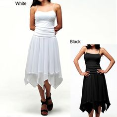 @Overstock - Step out in flirty fashion with one of these delicate romantic dresses from Evanese. The square neckline and spaghetti strap top are separated from the feminine handkerchief skirt by satin tape at the waistline, and the style complements your curves.http://www.overstock.com/Clothing-Shoes/Evanese-Womens-Romantic-Dress/6911598/product.html?CID=214117 $38.99