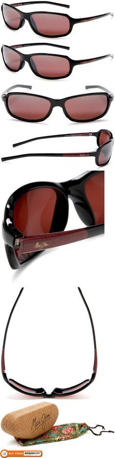 bc69ab5d5dad Maui Jim R107-07 Black and Burgundy Whitecap Rectangle Sunglasses  Polarised