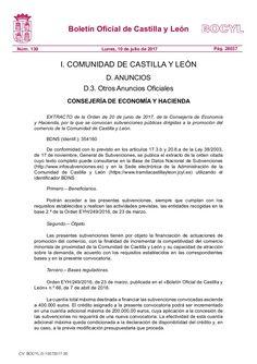 Orden de 20 de junio de 2017, de la Consejería de Economía y Hacienda, por la que se convocan subvenciones públicas dirigidas a la promoción del comercio de la…