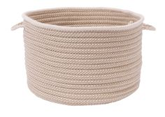 Boat House Indoor Outdoor Round Braided Basket, BT99 Tan with Natural Trim