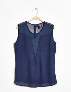 chemisier bi matière bleu marine - http://www.jennyfer.com/fr-fr/collection/chemises/chemisier-bi-matiere-bleu-marine-10008335011.html
