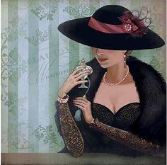 Vintage Pictures, Vintage Images, Vintage Art, Vintage Ladies, Fashion Illustration Vintage, Portrait Illustration, Art Deco Fashion, Vintage Fashion, Art Deco Cards