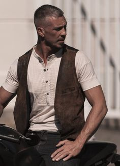 Lambskin Leather Front, Pinstripe Buckle Back Waistcoat. This is a bespoke item. Please see our policy in regards to bespoke pieces. Made in USA Dapper Gentleman, Gentleman Style, Dapper Dan, American Made Clothing, Men's Waistcoat, Leather Suspenders, Casual Wear For Men, Men Style Tips, Lambskin Leather