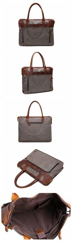 Vintage Style Leather Trimmed Waxed Canvas Laptop Bag, Messenger Bag, Shoulder Bag