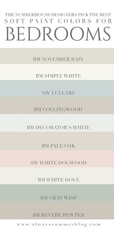 The SummerHouse designers weigh in on their favorite light paint colors for bedr. - The SummerHouse designers weigh in on their favorite light paint colors for bedrooms // alwayssumme -