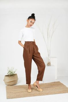 47878e0e1f14 High waist Brown linen pants/ Vintage Inspired Clothing/ loose fitting /  casual baggy trousers / preppy chic style