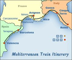 northern spanish city | Mediterranean Map Showing Suggested Itinerary for this Trip