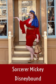 Sorcerer Mickey Disneybound – Lizzie In Adventureland Disney Fashion Casual, Disney Inspired Fashion, Fashion Outfits, Dapper Day Outfits, Disney Dooney, Disney Parks, Walt Disney, Red Velvet Dress, Disney Bound Outfits