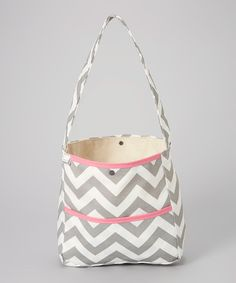 Take a look at the Brownie Gifts Gray & Pink Zigzag Shoulder Bag on #zulily today!