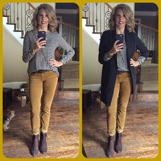 Really?!?  Why have I not put these Skinny Cords on before?!  So darn comfortable with the right amount of stretch.  The umber color goes great back to the heathered navy in the Ernest Tee and the Harbor Jacket.
