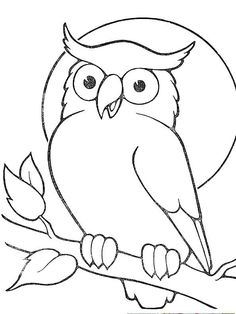 coloring pages - Gallery For > Owl Drawing For Kids Owl Patterns, Applique Patterns, Applique Quilts, Bird Drawings, Easy Drawings, Animal Drawings, Cartoon Drawings, Owl Coloring Pages, Coloring Books