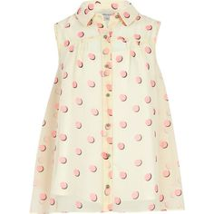 River Island Girls cream and pink spot shirt ($9.23) ❤ liked on Polyvore featuring shirts and sale