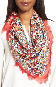 Free shipping and returns on Tory Burch Millefiore Square Silk Scarf at Nordstrom.com. Mod floral patterns instantly brighten up a lustrous silk scarf trimmed with dainty fringe.