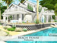 Beach House by Pralinesims at TSR via Sims 4 Updates